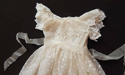 French Vintage Christening Gown in Silk Organza with Hand Embroidery + Petticoat