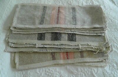 Lovely Bundle of 12 Antique Welsh wool blanket offcuts 18 x 7 each for projects