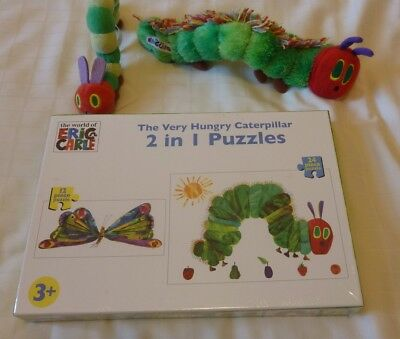 The Very Hungry Caterpillar Jigsaw and 2 soft toys.