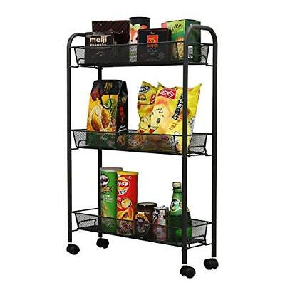 NEW! [BLACK] 3-tier Wire Mesh Rolling Kitchen Cart Metal ...