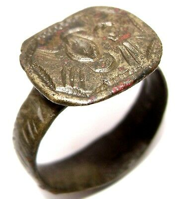 Ancient medieval pseudo-heraldry bronze ring seal.