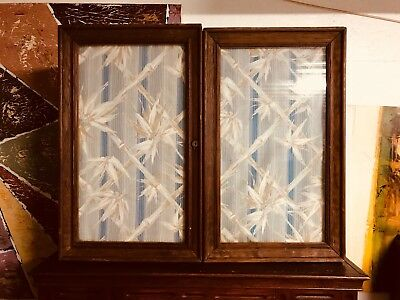 1800s-1900s? Vintage Antique Cabinet Glass Front Doors Storage Primitive Display