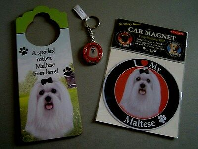 Set of 3 New Maltese Dog Items: Spinning Keychain, Doorhanger and XL Car Magnet