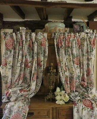 Delightful Pair Of Long Vintage French Floral Cotton  Drapes / Curtains ~