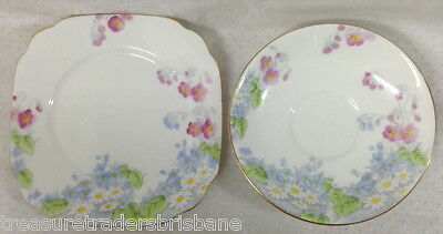 Royal Standard England Side Plate + Saucer  Blue & Pink Flowers On White