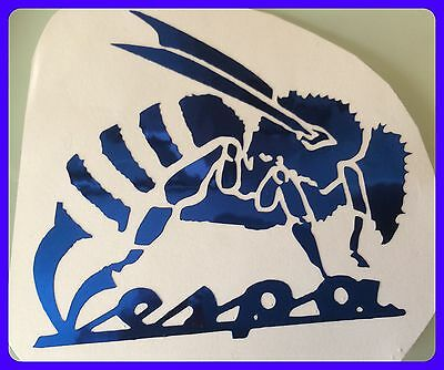 bespoke design vespa wasp  Scooter Decal  BLUE  METALLIC CHROME