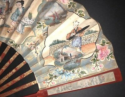 Superb Antique 18Th English Red Lacquer Chinoiseries Painted Scene Fan Ship