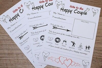 """Pack of 20  """"Wedding Advice Cards"""" Guestbook Alternative"""