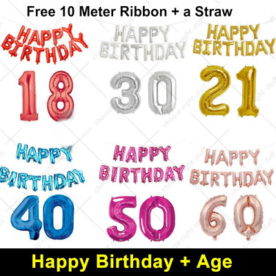 """16"""" Happy Birthday + 30"""" Giant Age Number Foil Balloons Self-inflating Banner"""