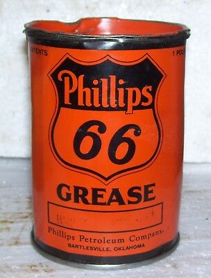 Phillips 66 early 1 lb grease can old orange and black