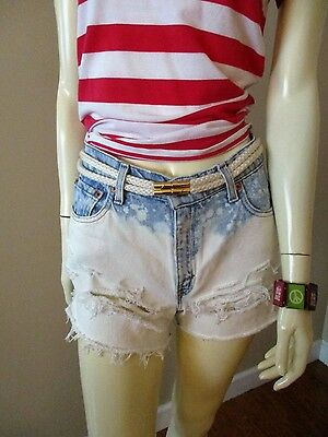 Vintage Levi 550 USA High Waist Distressed & Bleached Cut-off Jean Shorts sz 2/4