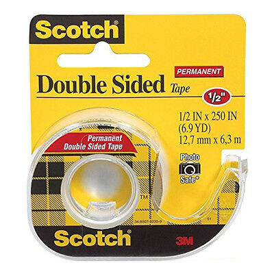 Scotch 3M Double-Sided Tape with Dispenser, 1/2 X 250 Inches, Clear 12 Pack