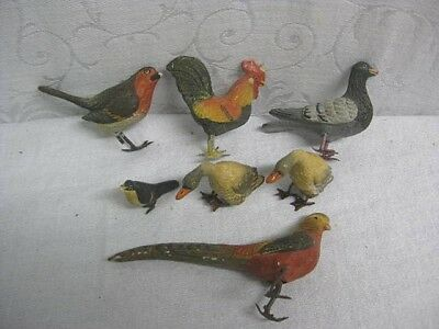 7 Vintage Composite Bird Figures with Metal Feet - Rooster, Pheasant, Pigeon