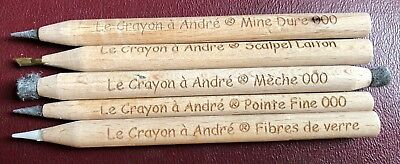 "5 Pencil Set > ""Le Crayon a Andre"" > Amazing ANCIENT Coin Cleaning tool!!!"