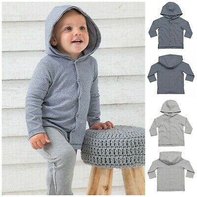 Organic Cotton Baby Hoodie Hooded Long Sleeve Top Soft Stretch Boy Girl Stripe