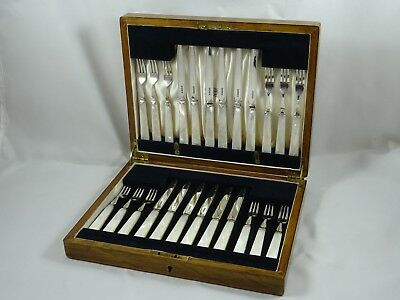STUNNING boxed ART DECO solid silver & Mother of Pearl FRUIT CUTLERY, 1933