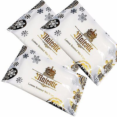 100 x Large Wet Hand Wipes Towels Lemon Scented Hot Cold Individually Wrapped