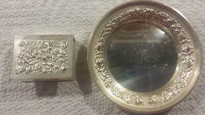 REPOUSSE Sterling Silver K. Stieff Matchbox Holder and Ring Tray