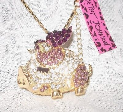 Betsey Johnson Necklace Purple And Clear Gold Tone Long Baby Pick Necklace-Nwt