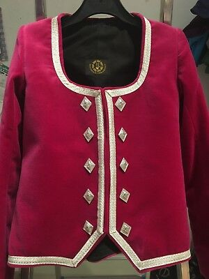Highland Dancer's Jacket, Crimson Velvet & Silver Trim. By Tailor Frank