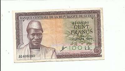 Guinea., 100 cent francs. 1960. VF. Bird watermark.!!