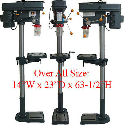 16 Speed Drill Press Floor Mount + / - 45 Tilt Angle Table 360 Degree 120V 3/4HP