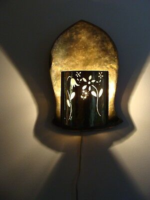 Brutalist Hammered Brass Mid Century Wall Sconce Light Medieval Art