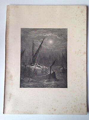 London, Rare Original Antique Print 1872 Gustave Dore, Hay-Boats On The Thames