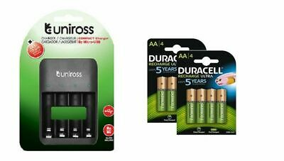 U4 SMART FAST LED AA/AAA CHARGER 8 x AA 2500 mAh DURACELL RECHARGEABLE BATTERIES