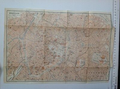 Bruxelles Street Plan, 1910 Antique Map, Original, Belgium & Holland 1