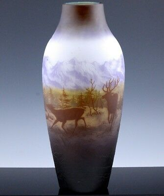 MUSEUM QUALTY LARGE c1920 D'ARGENTAL DEER SCENIC FRENCH CAMEO CUT ART GLASS VASE