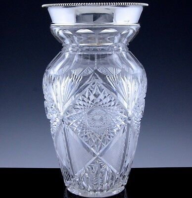 Gorgeous Very Large American Sterling Silver Deeply Cut Crystal Glass Roses Vase