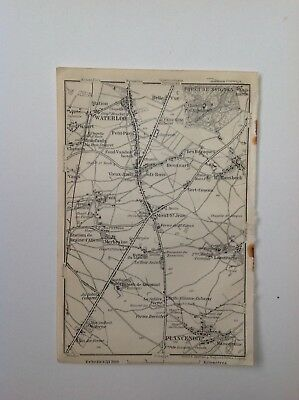 Waterloo, Plancenoit, 1910 Antique Map, Original, Belgium & Holland 5