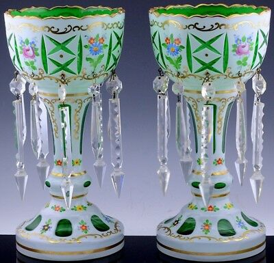Beautiful Pair Bohemian Czech White Cut To Green Enameled Glass Candle Lusters
