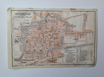 Leeuwarden Street Plan, 1910 Antique Map, Original, Belgium & Holland 18