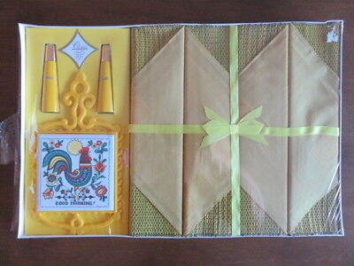 Vintage Place Mats- Napkins - S&p  Shakers - Tile Trivet - Still In Package