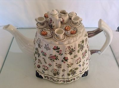 Portmeirion Collectable Novelty Lge Tea Table+Jam Tarts Teapot Lovely Condition
