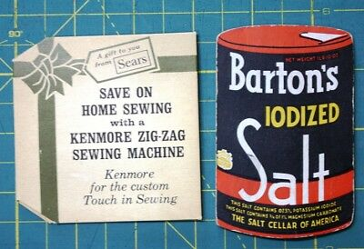 2 Needle Cards Needles Advertising Sewing Barton's Salt Sears