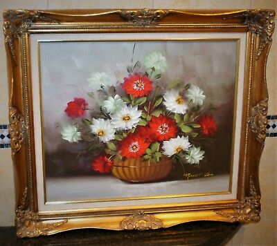 Vintage Robert Cox Large Original Oil Painting Red White Flowers Listed Artist