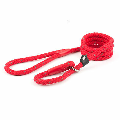 Ancol Strong Dog Puppy Reflective Nylon Slip Rope Lead Red Black Blue 1.5mx12mm