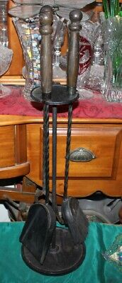 Antique Fireplace 3 Piece Tool Set W/Stand-Wood Handles-Twisted Metal-Hearthware