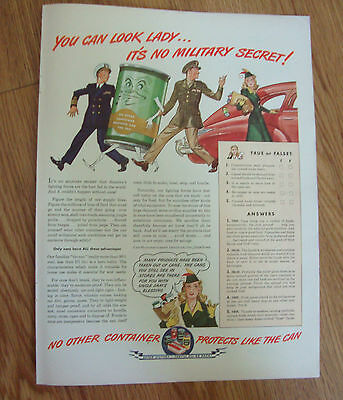 1944 Can Container Ad  WW II theme You can Look Lady No Military Secret