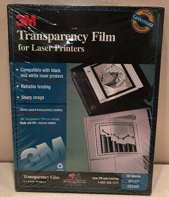 "New 3M Transparency Film for Laser Copiers CG3300 50 Sheets Sealed 8 1/2"" X 11"
