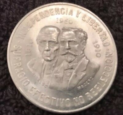 Mexico 10 Pesos 1960 Silver Coin 1810~1910 5pcs available and sold individually