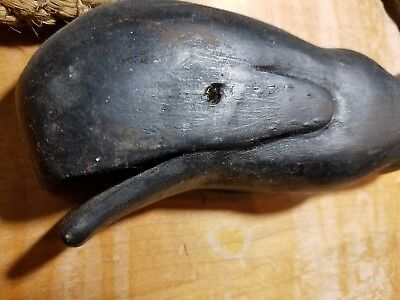 Vintage Wooden Whale Carved Wood Decoy Nautical Ocean Maritime Folk Art Signed