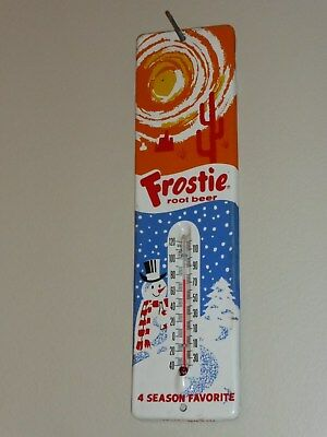 Antqe/Vtg Frostie Root Beer,4 SEASON FAVORITE, so17 Sign Thermomer,USA 1940s,Org