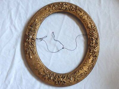 Antique Ornate Oval Wood With Gesso Picture Frame