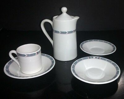 """5 Pc Vtg Mayer Restaurant Ware Demitasse Cup, 3 Saucers & 6"""" Hot Water Cocoa Pot"""