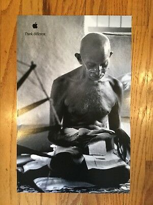 "Vintage 1990's Apple Computer ""Think Different"" Mahatma Gandhi 17 x 11""poster"