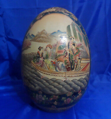 "Vtg Chinoiserie Moriage Porcelain 16"" SATSUMA EGG ASIAN SCENE Marked Gold Gilded"